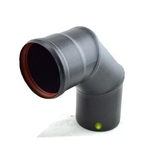 Codo 90º tubo pellet 80 vitrificado negro