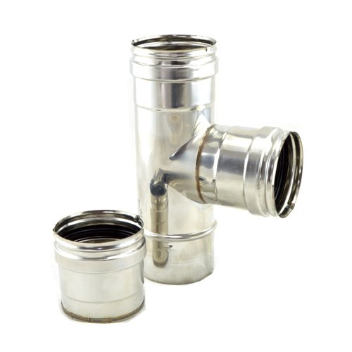 TE 90º de registro inox 316 para estufas de pellet 80 mm con tapón