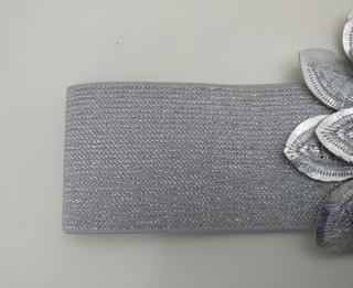 Cinturón plata flores elástico