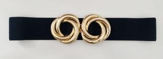Cinturón fiesta elástico negro detalle dorado