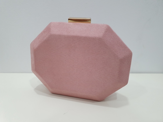Bolso de fiesta hexagonal rosa maquillaje