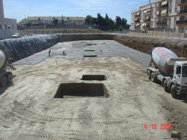 Plataforma de cimentación tras mejora de terreno