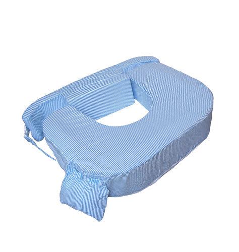 Cojín de lactancia gemelar a rayitas azules y blancas My Brest Friend.