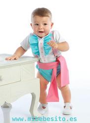 ranita flamenca para niño en color verde agua con lunares blancos y fajín rosa