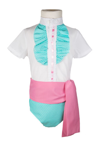 Ranita flamenca para niño verde agua con fajín rosa