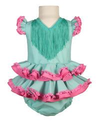Traje de gitana para bebé en verde agua y rosa