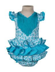 Traje de flamenca de bebé de flores turquesa