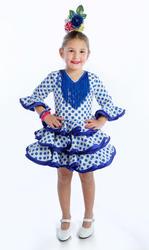 Traje de gitana flamenca para niña blanco lunar azul MiBebesito gtnn400 modelo