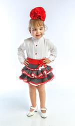 traje de campera para niña con fajín, blusa y falda rociera y fajín rojo MiBebesito. Manga corta