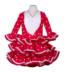 Traje de gitana para niña rojo con lunares blancos