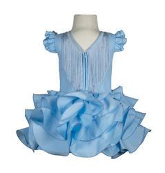 Traje de gitana flamenca básico celeste para niña MiBebebesito bsc007 detrás