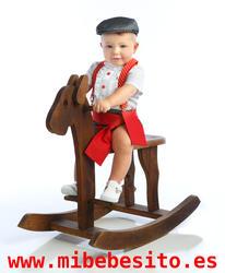 traje de corto para niños con braguita campera y fajín rojo a juego MiBebesito