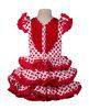 Traje de gitana flamenca para niña popelín lunar rojo con flecos rojos MiBebesito