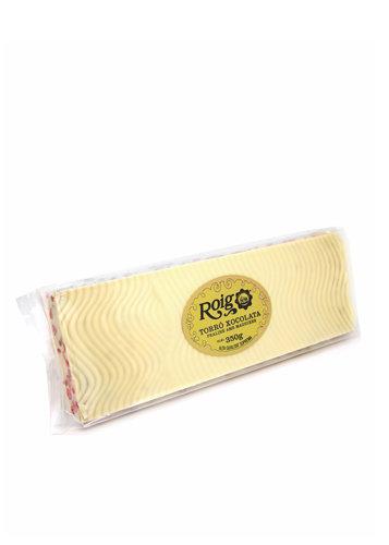 Torró de xocolata blanca i praliné amb maduixes (xocolata 60%) (maduixes 15%). Qualitat Suprema. Pes net 350g