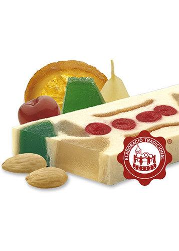 Torró de massapà amb fruites confitades (fruites confitades 25%). Qualitat Suprema. Pes net 500g