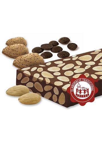 Torró de xocolata amb ametlles (xocolata 55%)(ametlles 45%). Qualitat Suprema. Pes net 300g