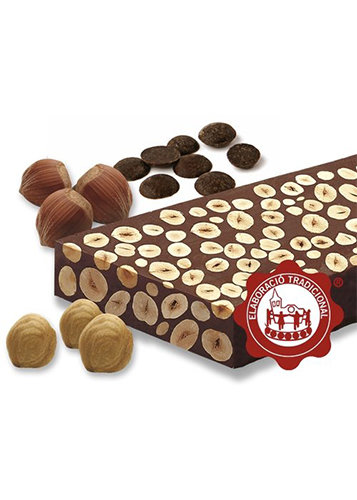 Torró de xocolata amb avellanes (xocolata 60%)(avellanes 40%). Qualitat Suprema. Pes net 300g