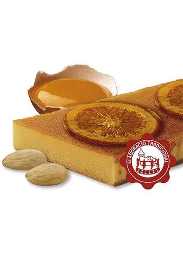 Torró de gema cremada amb taronja confitada (gema d'ou 10%) (taronja confitada 15%). Qualitat Suprema. Pes net 500g